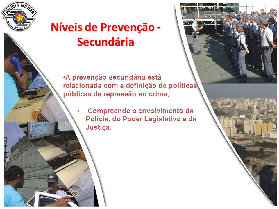 A prevenção secundária está relacionada com a definição de políticas públicas de repressão ao crime; Compreende o envolvimento da Polícia, do Poder Legislativo e da Justiça.