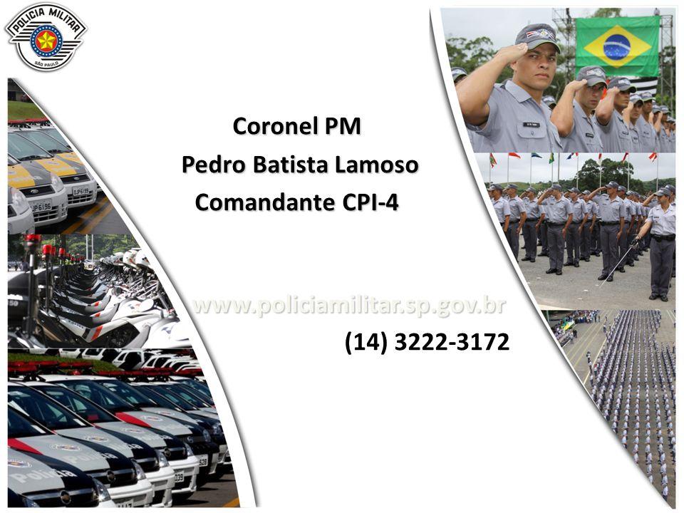 Coronel PM Pedro Batista Lamoso Pedro Batista Lamoso Comandante CPI-4 www.policiamilitar.sp.gov.br (14) 3222-3172