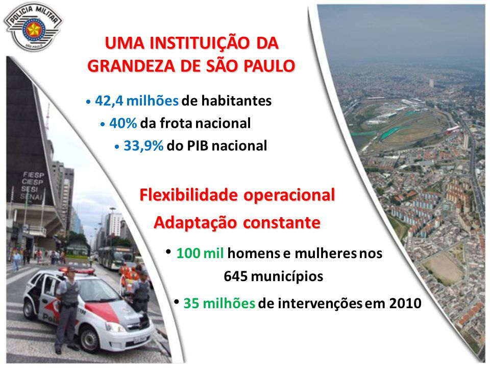 UMA INSTITUIÇÃO DA GRANDEZA DE SÃO PAULO 42,4 milhões de habitantes 40% da frota nacional 33,9% do PIB nacional Flexibilidade operacional Adaptação constante 100 mil homens e mulheres nos 645 municípios 35 milhões de intervenções em 2010