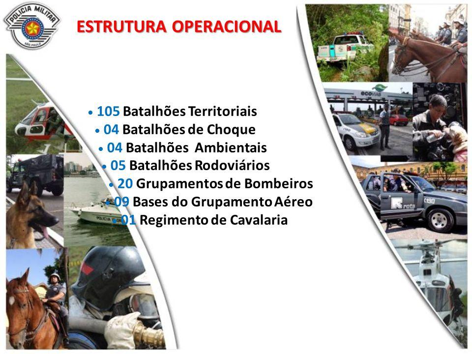 ESTRUTURA OPERACIONAL 105 Batalhões Territoriais 04 Batalhões de Choque 04 Batalhões Ambientais 05 Batalhões Rodoviários 20 Grupamentos de Bombeiros 09 Bases do Grupamento Aéreo 01 Regimento de Cavalaria