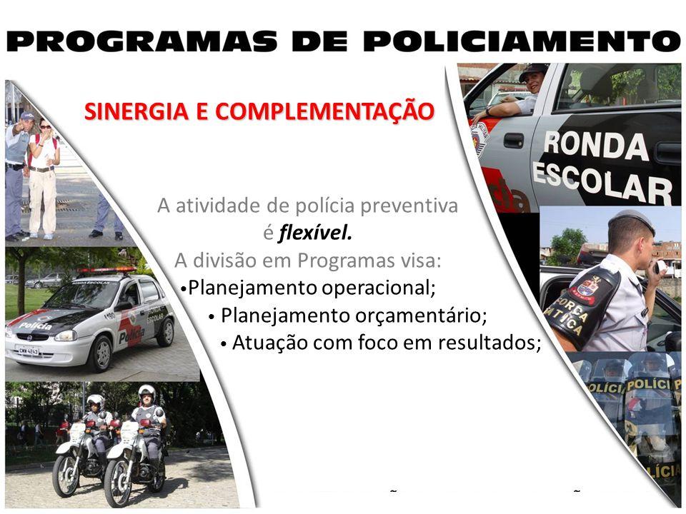 SINERGIA E COMPLEMENTAÇÃO A atividade de polícia preventiva é flexível. A divisão em Programas visa: Planejamento operacional; Planejamento orçamentár