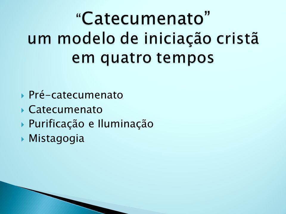 Pré-catecumenato Catecumenato Purificação e Iluminação Mistagogia