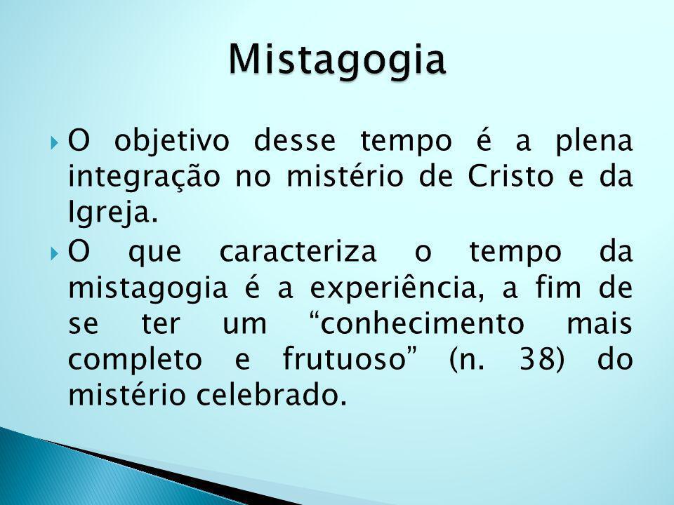 O objetivo desse tempo é a plena integração no mistério de Cristo e da Igreja. O que caracteriza o tempo da mistagogia é a experiência, a fim de se te