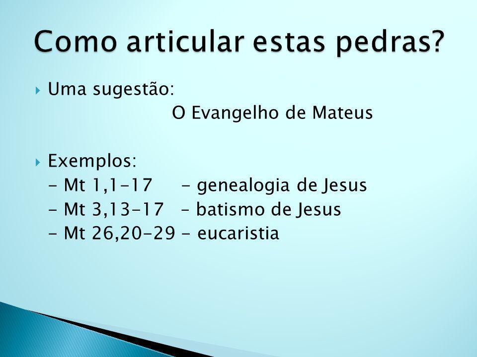 Uma sugestão: O Evangelho de Mateus Exemplos: - Mt 1,1-17 - genealogia de Jesus - Mt 3,13-17 – batismo de Jesus - Mt 26,20-29 - eucaristia