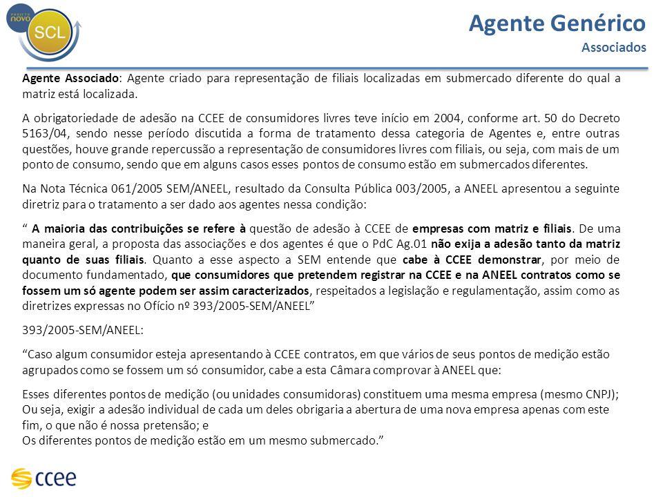 Agente Genérico Associados Agente Associado: Agente criado para representação de filiais localizadas em submercado diferente do qual a matriz está loc