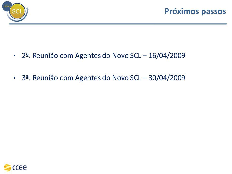 Próximos passos 2ª. Reunião com Agentes do Novo SCL – 16/04/2009 3ª. Reunião com Agentes do Novo SCL – 30/04/2009