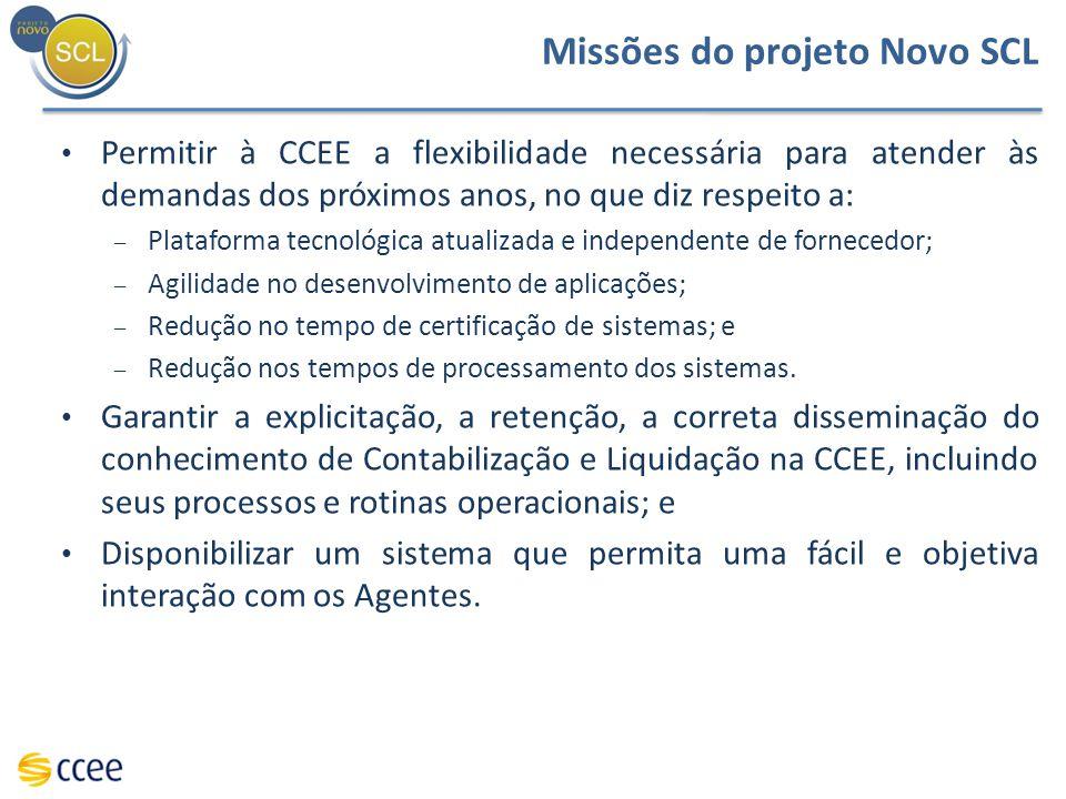 Missões do projeto Novo SCL Permitir à CCEE a flexibilidade necessária para atender às demandas dos próximos anos, no que diz respeito a: – Plataforma