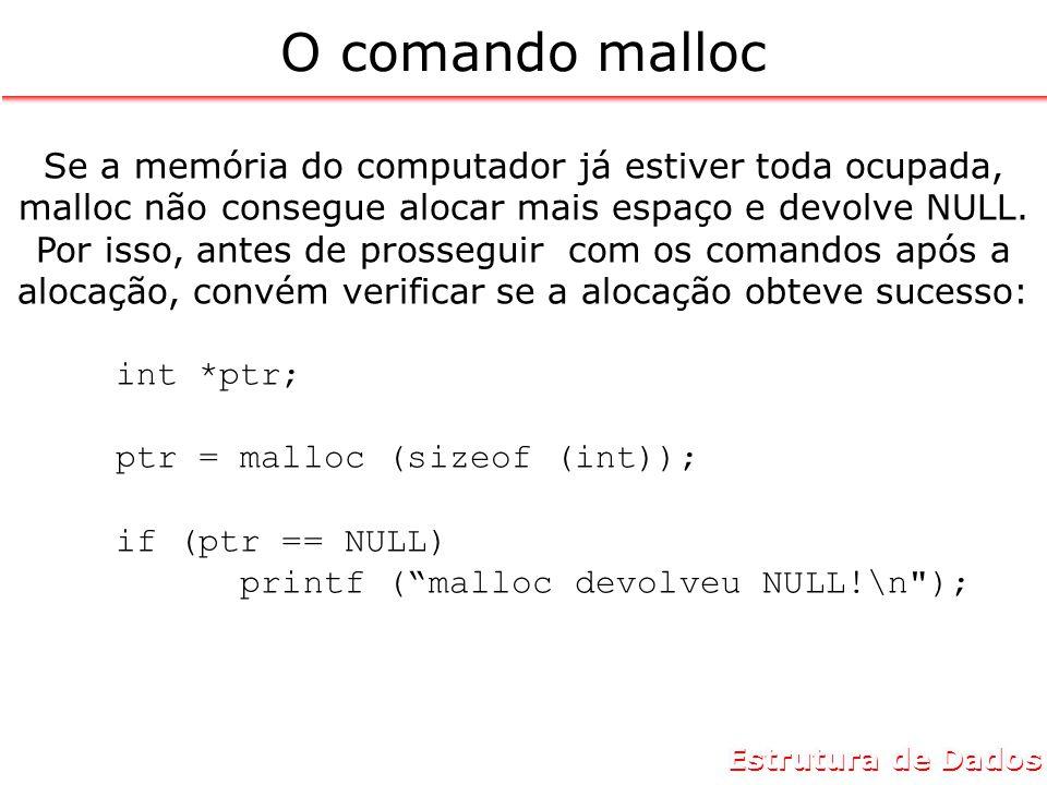 Estrutura de Dados O comando malloc Se a memória do computador já estiver toda ocupada, malloc não consegue alocar mais espaço e devolve NULL.