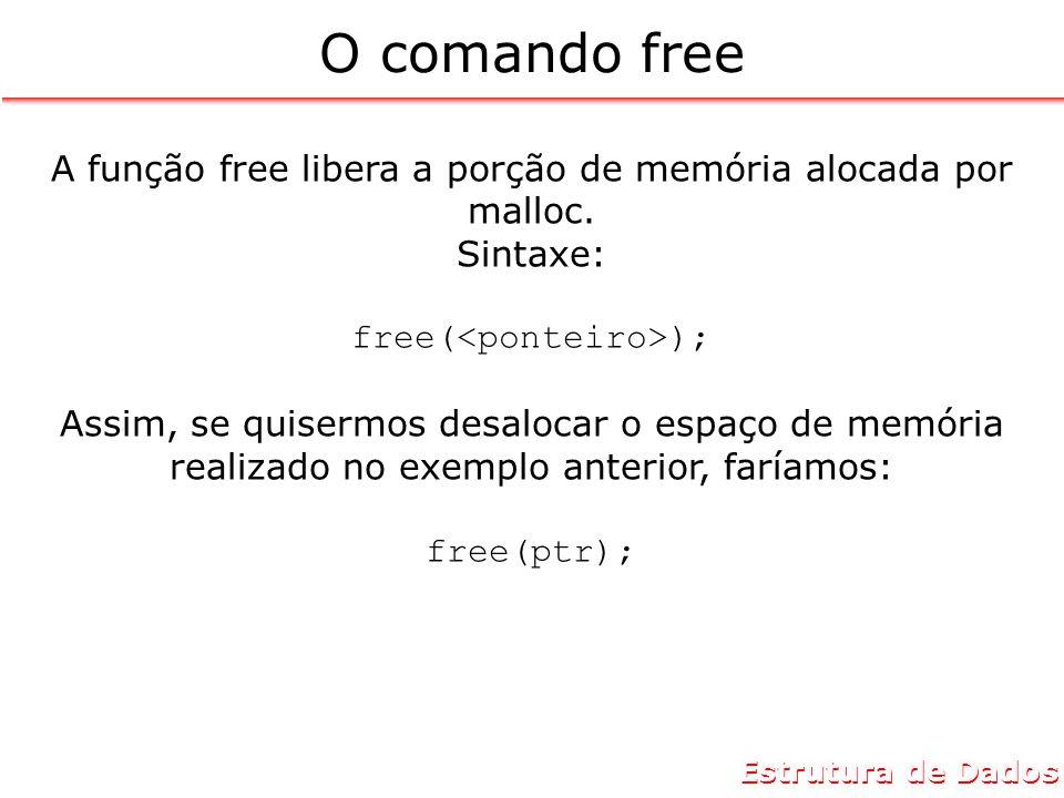 Estrutura de Dados O comando free A função free libera a porção de memória alocada por malloc.