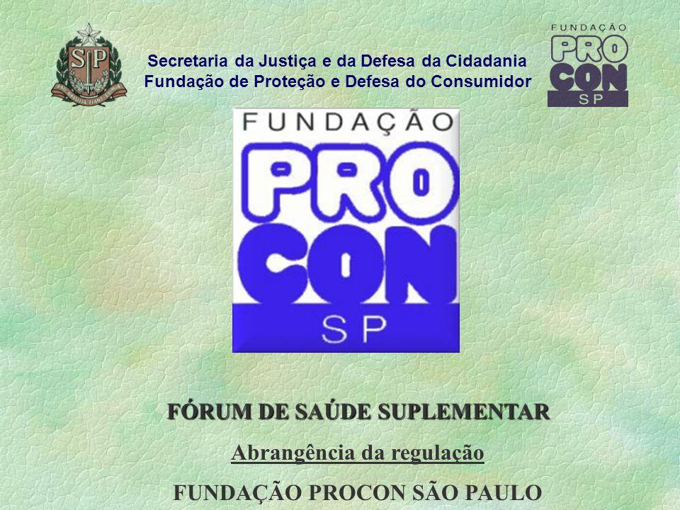 FÓRUM DE SAÚDE SUPLEMENTAR Abrangência da regulação FUNDAÇÃO PROCON SÃO PAULO Secretaria da Justiça e da Defesa da Cidadania Fundação de Proteção e Defesa do Consumidor