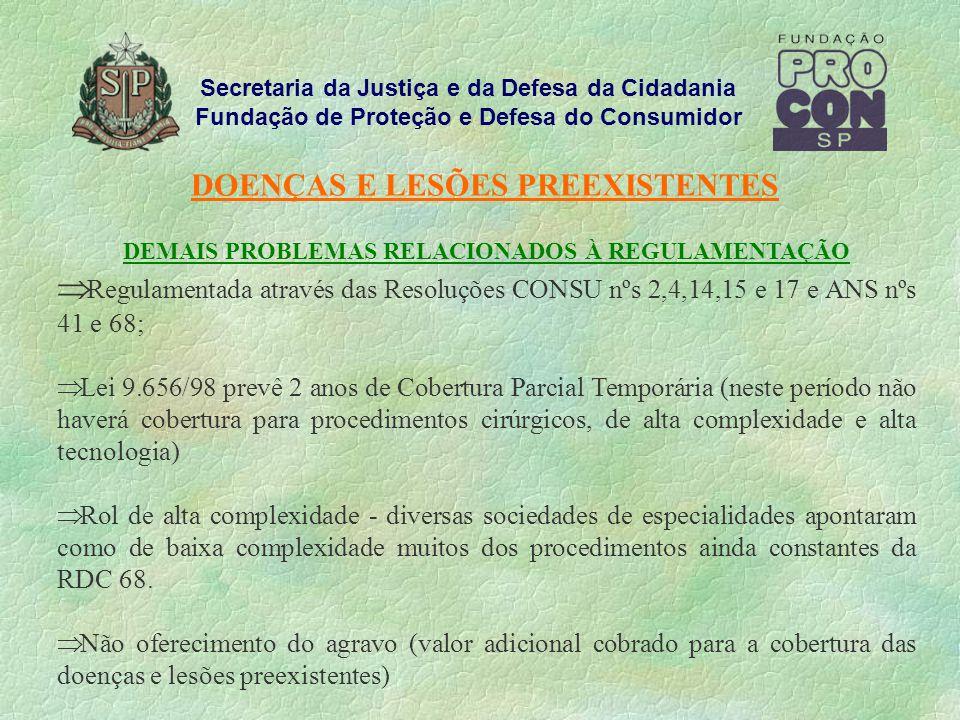 Secretaria da Justiça e da Defesa da Cidadania Fundação de Proteção e Defesa do Consumidor DOENÇAS E LESÕES PREEXISTENTES DEMAIS PROBLEMAS RELACIONADOS À REGULAMENTAÇÃO Regulamentada através das Resoluções CONSU nºs 2,4,14,15 e 17 e ANS nºs 41 e 68; Lei 9.656/98 prevê 2 anos de Cobertura Parcial Temporária (neste período não haverá cobertura para procedimentos cirúrgicos, de alta complexidade e alta tecnologia) Rol de alta complexidade - diversas sociedades de especialidades apontaram como de baixa complexidade muitos dos procedimentos ainda constantes da RDC 68.