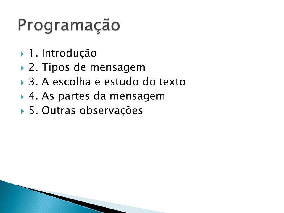 1. Introdução 2. Tipos de mensagem 3. A escolha e estudo do texto 4. As partes da mensagem 5. Outras observações