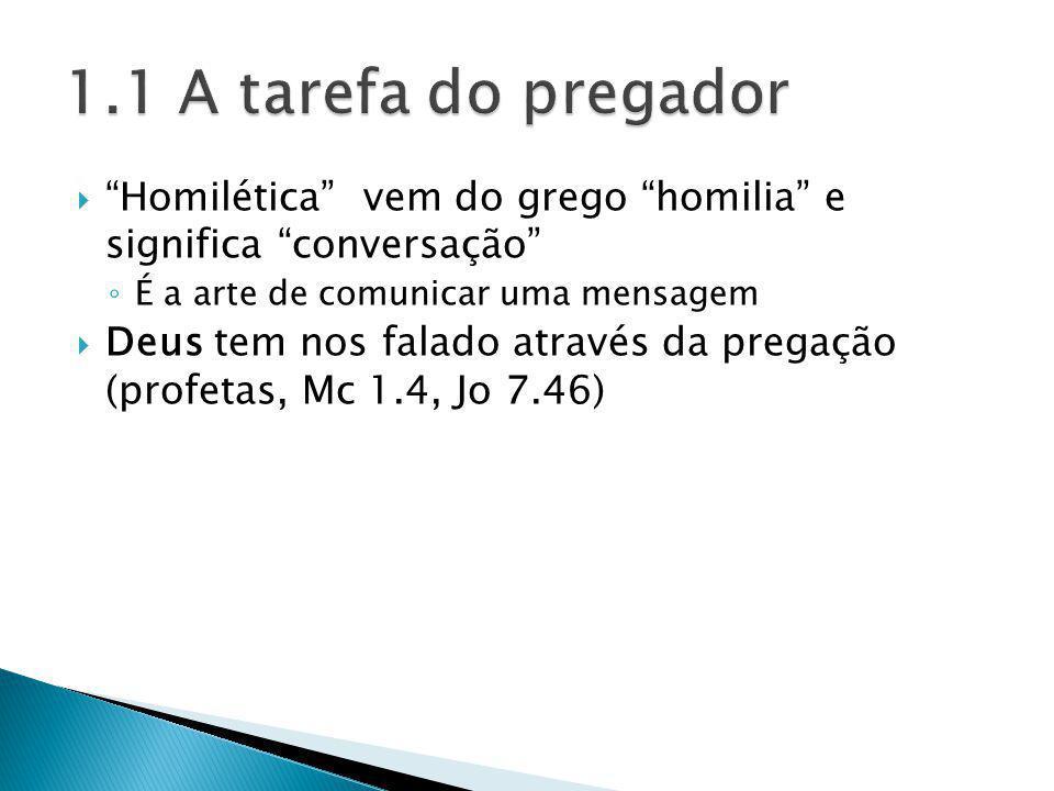 Homilética vem do grego homilia e significa conversação É a arte de comunicar uma mensagem Deus tem nos falado através da pregação (profetas, Mc 1.4,