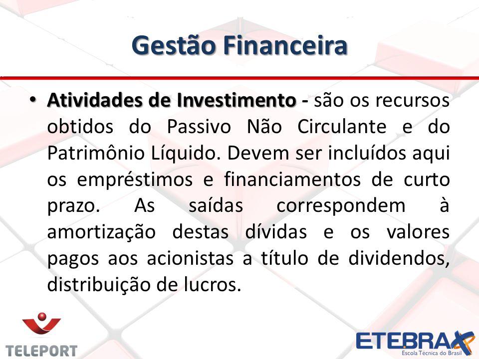 Gestão Financeira Atividades de Investimento Atividades de Investimento - são os recursos obtidos do Passivo Não Circulante e do Patrimônio Líquido. D