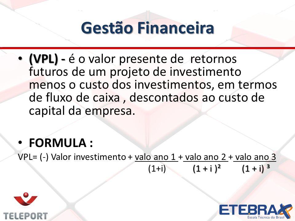 Gestão Financeira (VPL) - (VPL) - é o valor presente de retornos futuros de um projeto de investimento menos o custo dos investimentos, em termos de f