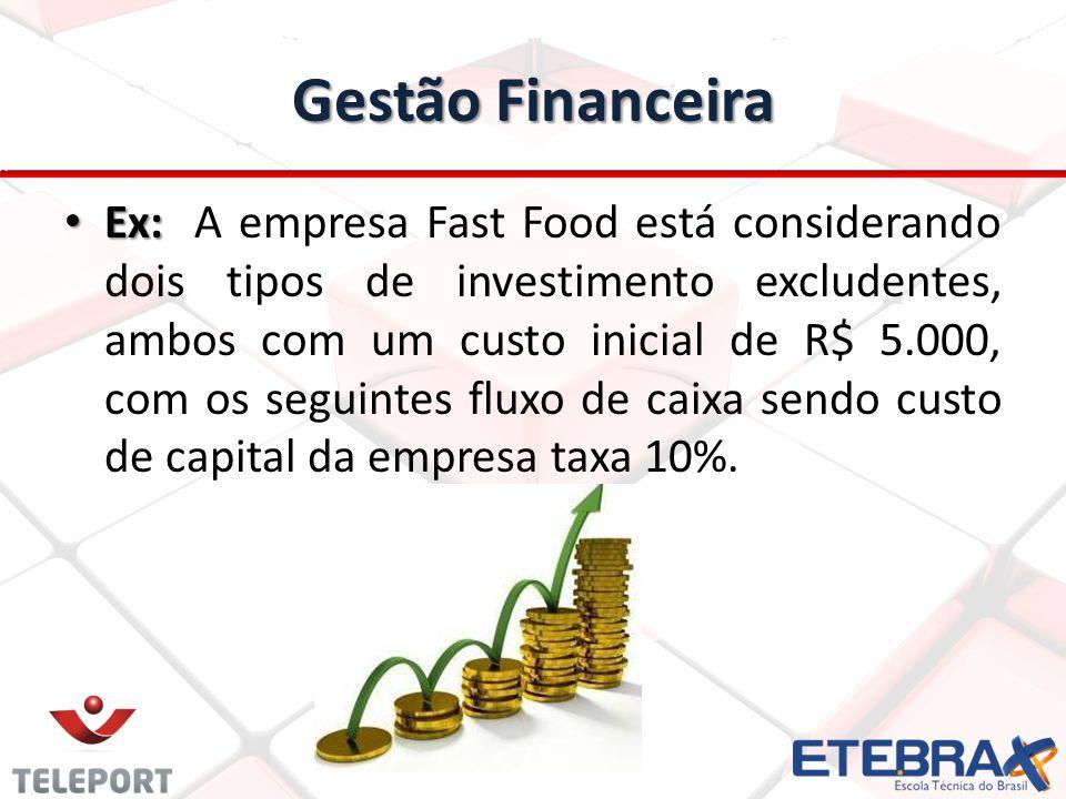 Gestão Financeira Ex: Ex: A empresa Fast Food está considerando dois tipos de investimento excludentes, ambos com um custo inicial de R$ 5.000, com os