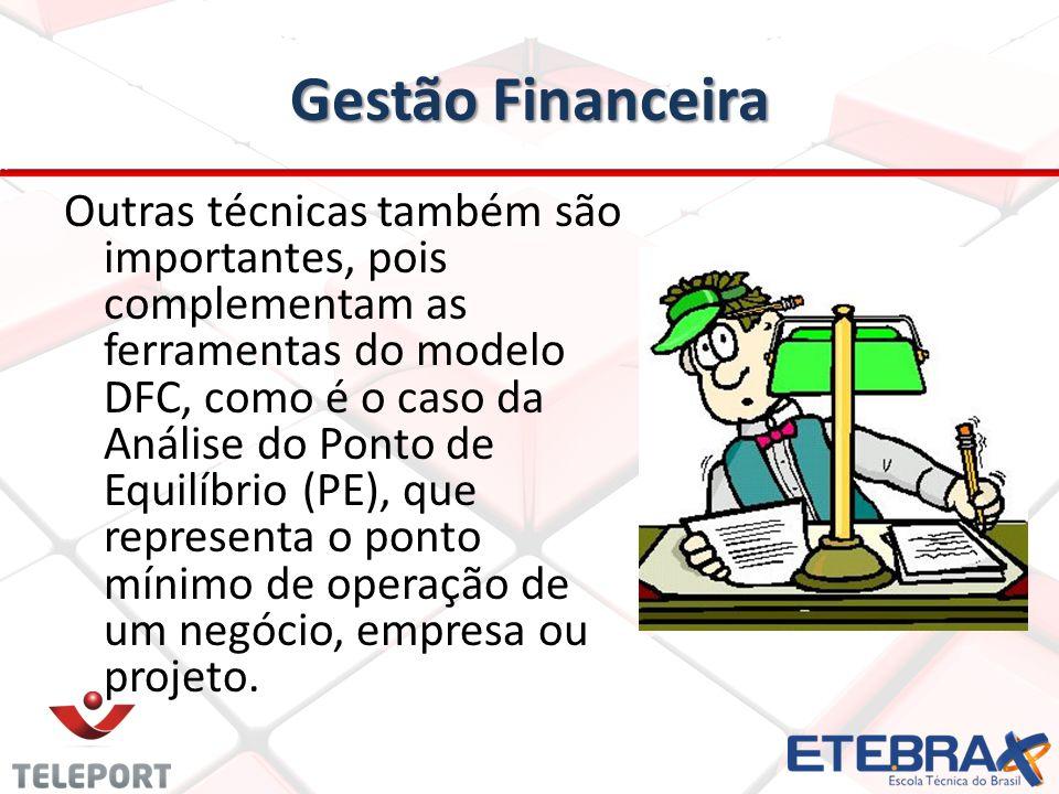Gestão Financeira Outras técnicas também são importantes, pois complementam as ferramentas do modelo DFC, como é o caso da Análise do Ponto de Equilíb