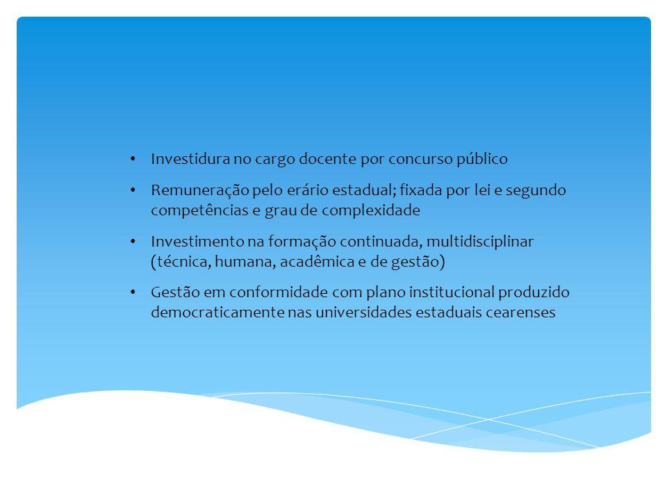 Investidura no cargo docente por concurso público Remuneração pelo erário estadual; fixada por lei e segundo competências e grau de complexidade Inves