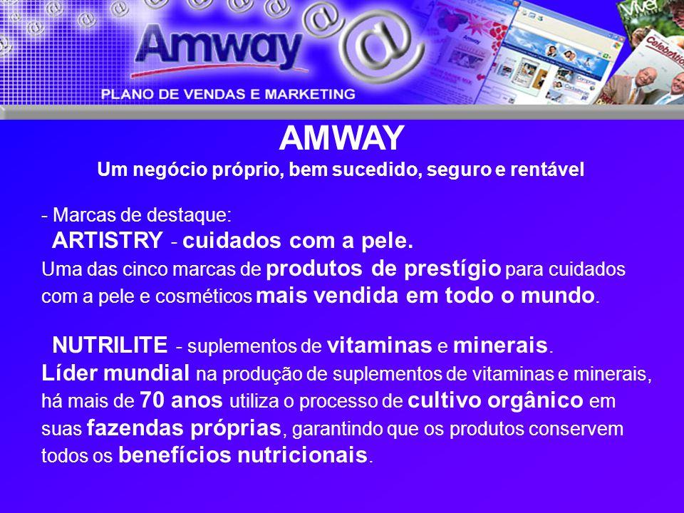 AMWAY Um negócio próprio, bem sucedido, seguro e rentável - Marcas de destaque: ARTISTRY - cuidados com a pele. Uma das cinco marcas de produtos de pr