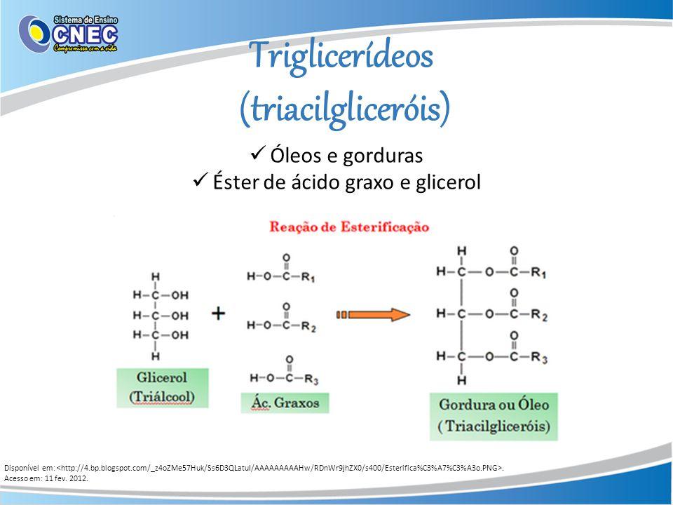 Triglicerídeos (triacilgliceróis) Óleos e gorduras Éster de ácido graxo e glicerol Disponível em:. Acesso em: 11 fev. 2012.