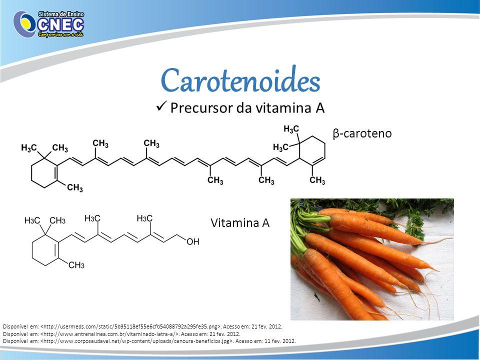 Carotenoides Disponível em:. Acesso em: 21 fev. 2012. Disponível em:. Acesso em: 11 fev. 2012. Precursor da vitamina A β-caroteno Vitamina A