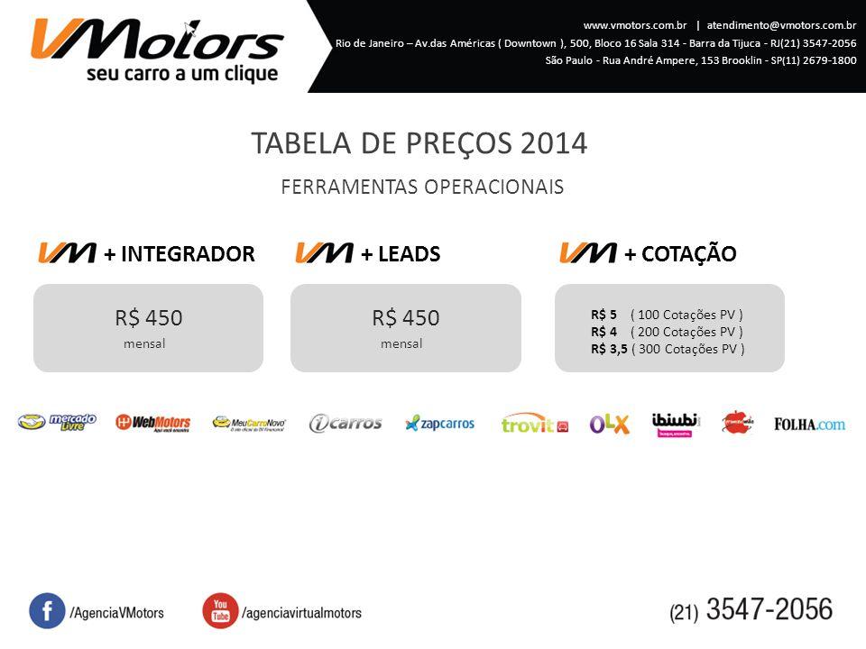 TABELA DE PREÇOS 2014 FERRAMENTAS OPERACIONAIS + INTEGRADOR R$ 450 mensal + LEADS R$ 450 mensal + COTAÇÃO R$ 5 ( 100 Cotações PV ) R$ 4 ( 200 Cotações PV ) R$ 3,5 ( 300 Cotações PV ) www.vmotors.com.br   atendimento@vmotors.com.br Rio de Janeiro – Av.das Américas ( Downtown ), 500, Bloco 16 Sala 314 - Barra da Tijuca - RJ(21) 3547-2056 São Paulo - Rua André Ampere, 153 Brooklin - SP(11 ) 2679-1800
