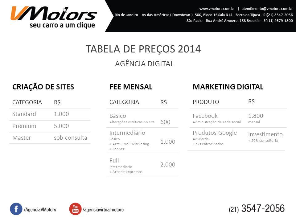 TABELA DE PREÇOS 2014 www.vmotors.com.br   atendimento@vmotors.com.br Rio de Janeiro – Av.das Américas ( Downtown ), 500, Bloco 16 Sala 314 - Barra da Tijuca - RJ(21) 3547-2056 São Paulo - Rua André Ampere, 153 Brooklin - SP(11 ) 2679-1800 AGÊNCIA DIGITAL CRIAÇÃO DE SITES CATEGORIA Standard Premium Master R$ 1.000 5.000 sob consulta Básico Alterações estéticas no site R$ 600 1.000 CATEGORIA Intermediário Básico + Arte Email Marketing + Banner Full Intermediário + Arte de impressos FEE MENSAL Facebook Administração de rede social R$ PRODUTO Produtos Google AdWords Links Patrocinados MARKETING DIGITAL 1.800 mensal Investimento + 20% consultoria 2.000