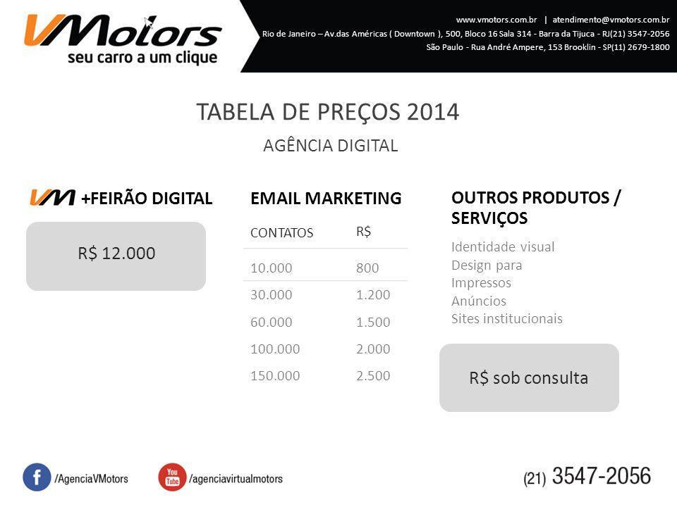 TABELA DE PREÇOS 2014 AGÊNCIA DIGITAL +FEIRÃO DIGITAL R$ 12.000 10.000 30.000 60.000 100.000 150.000 R$ CONTATOS EMAIL MARKETING Identidade visual Design para Impressos Anúncios Sites institucionais OUTROS PRODUTOS / SERVIÇOS 800 1.200 1.500 2.000 2.500 R$ sob consulta www.vmotors.com.br   atendimento@vmotors.com.br Rio de Janeiro – Av.das Américas ( Downtown ), 500, Bloco 16 Sala 314 - Barra da Tijuca - RJ(21) 3547-2056 São Paulo - Rua André Ampere, 153 Brooklin - SP(11 ) 2679-1800
