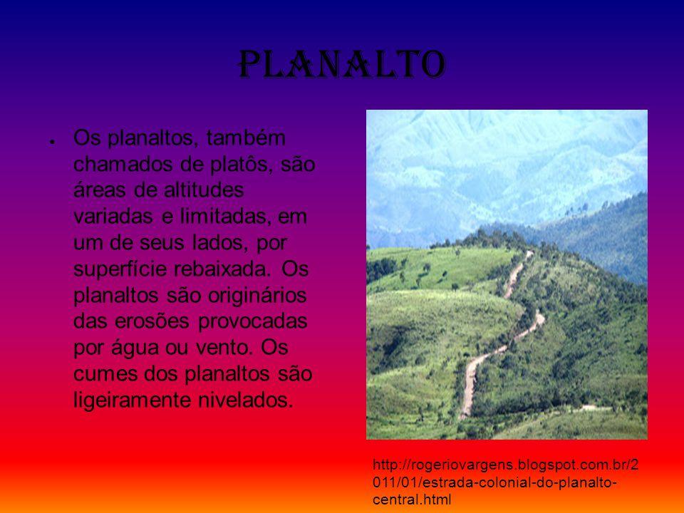 Planalto Os planaltos, também chamados de platôs, são áreas de altitudes variadas e limitadas, em um de seus lados, por superfície rebaixada. Os plana