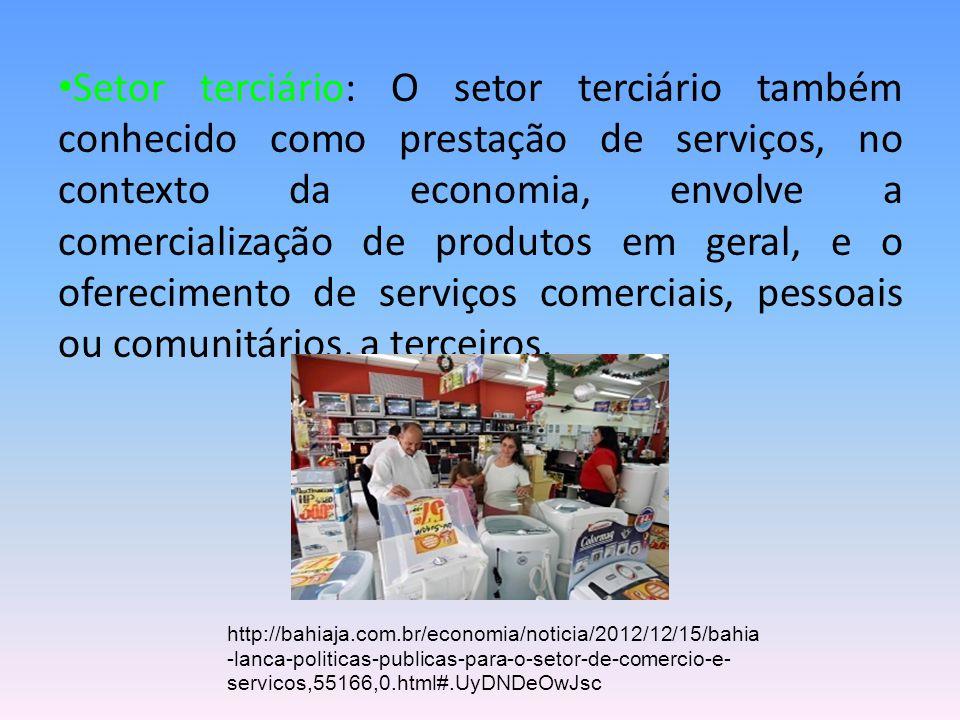 Setor terciário: O setor terciário também conhecido como prestação de serviços, no contexto da economia, envolve a comercialização de produtos em gera