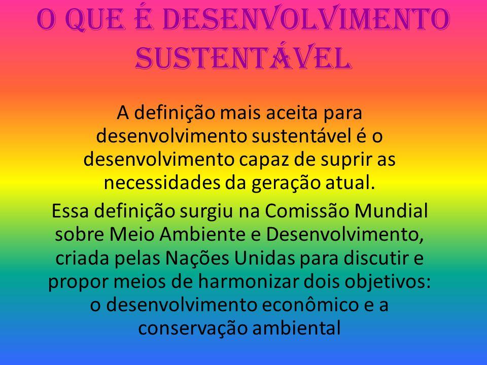 O que é Desenvolvimento Sustentável A definição mais aceita para desenvolvimento sustentável é o desenvolvimento capaz de suprir as necessidades da ge