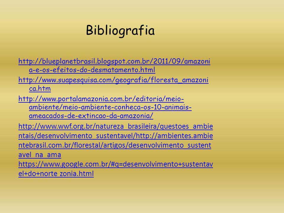 Bibliografia http://blueplanetbrasil.blogspot.com.br/2011/09/amazoni a-e-os-efeitos-do-desmatamento.html http://www.suapesquisa.com/geografia/floresta