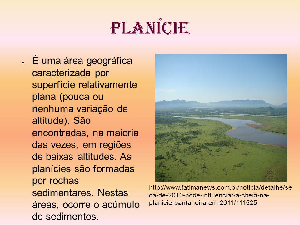 Planície É uma área geográfica caracterizada por superfície relativamente plana (pouca ou nenhuma variação de altitude). São encontradas, na maioria d
