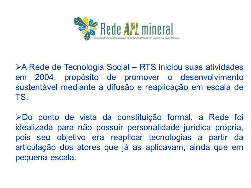 A Rede de Tecnologia Social – RTS iniciou suas atividades em 2004, propósito de promover o desenvolvimento sustentável mediante a difusão e reaplicação em escala de TS.