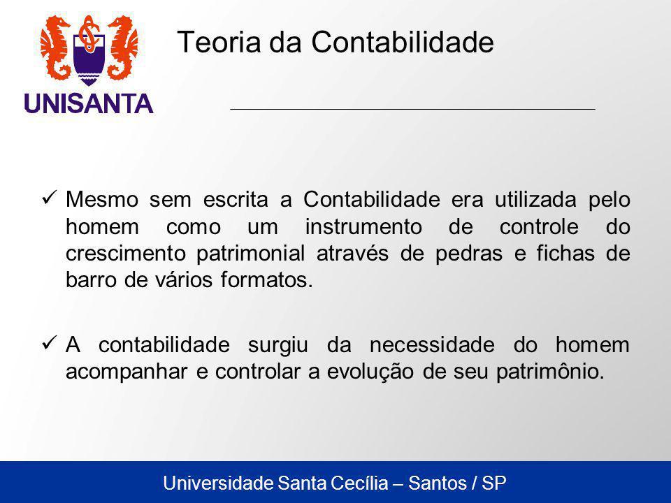 Universidade Santa Cecília – Santos / SP Mesmo sem escrita a Contabilidade era utilizada pelo homem como um instrumento de controle do crescimento patrimonial através de pedras e fichas de barro de vários formatos.