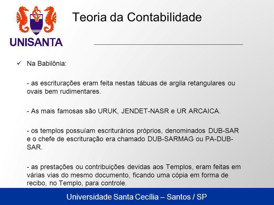 Universidade Santa Cecília – Santos / SP Na Babilônia: - as escriturações eram feita nestas tábuas de argila retangulares ou ovais bem rudimentares.