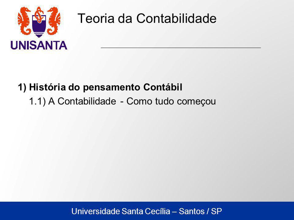 Universidade Santa Cecília – Santos / SP Teoria da Contabilidade 1) História do pensamento Contábil 1.1) A Contabilidade - Como tudo começou