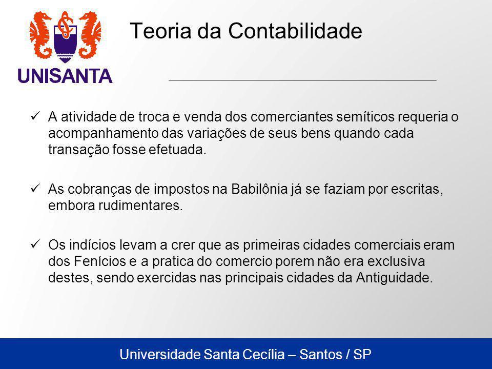 Universidade Santa Cecília – Santos / SP A atividade de troca e venda dos comerciantes semíticos requeria o acompanhamento das variações de seus bens quando cada transação fosse efetuada.