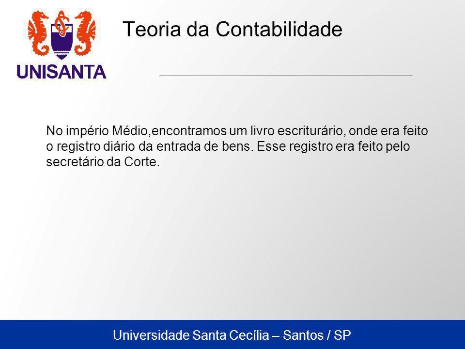 Universidade Santa Cecília – Santos / SP No império Médio,encontramos um livro escriturário, onde era feito o registro diário da entrada de bens.