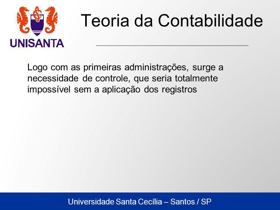 Universidade Santa Cecília – Santos / SP Teoria da Contabilidade Logo com as primeiras administrações, surge a necessidade de controle, que seria totalmente impossível sem a aplicação dos registros
