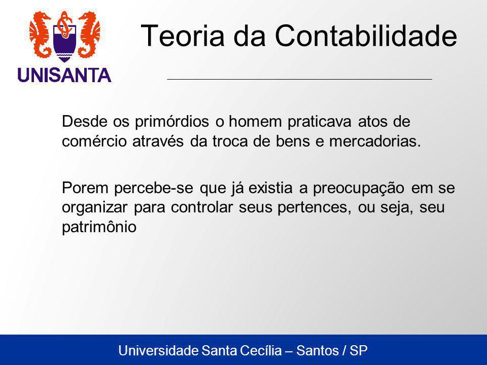 Universidade Santa Cecília – Santos / SP Teoria da Contabilidade Desde os primórdios o homem praticava atos de comércio através da troca de bens e mercadorias.