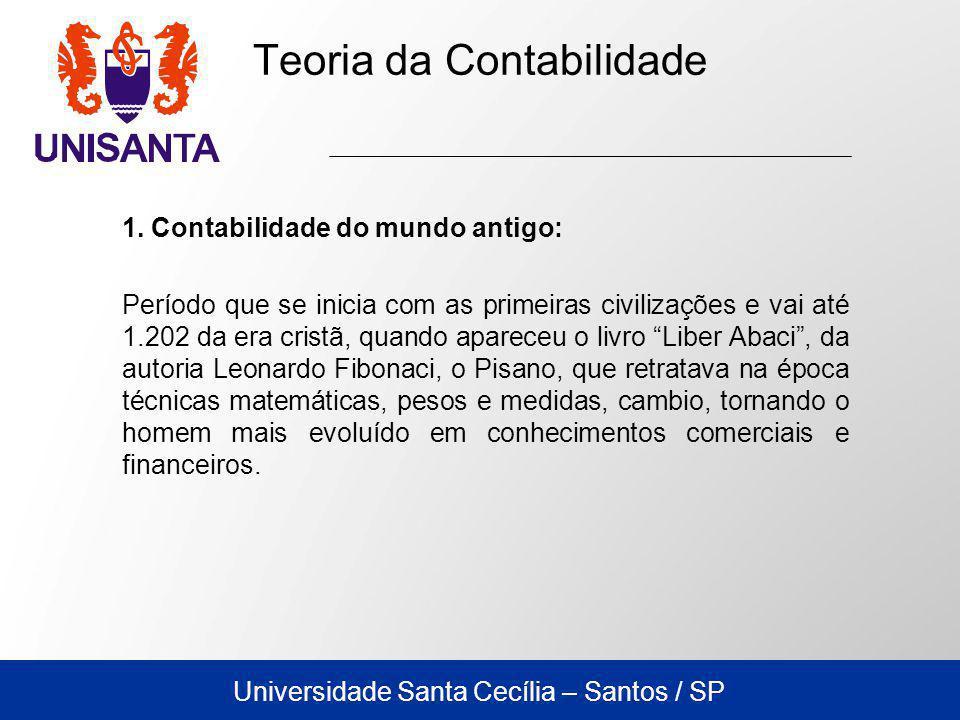 Universidade Santa Cecília – Santos / SP Como tais informações eram cada vez mais numerosas e de difícil memorização, surgiu a necessidade dos registros, gerando os primeiros esboços para os estudos voltados para a contabilidade.