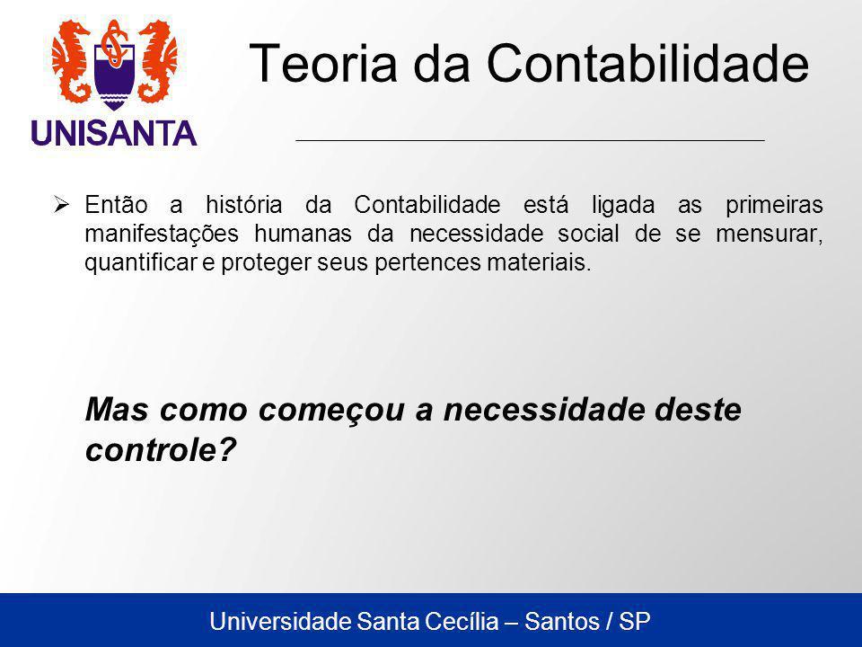 Universidade Santa Cecília – Santos / SP Teoria da Contabilidade Então a história da Contabilidade está ligada as primeiras manifestações humanas da necessidade social de se mensurar, quantificar e proteger seus pertences materiais.