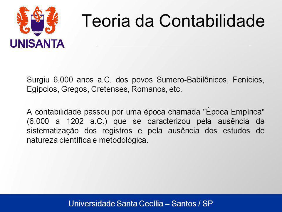 Universidade Santa Cecília – Santos / SP No período medieval, diversas inovações na técnica da contabilidade foram introduzidas por governos locais e pela Igreja.