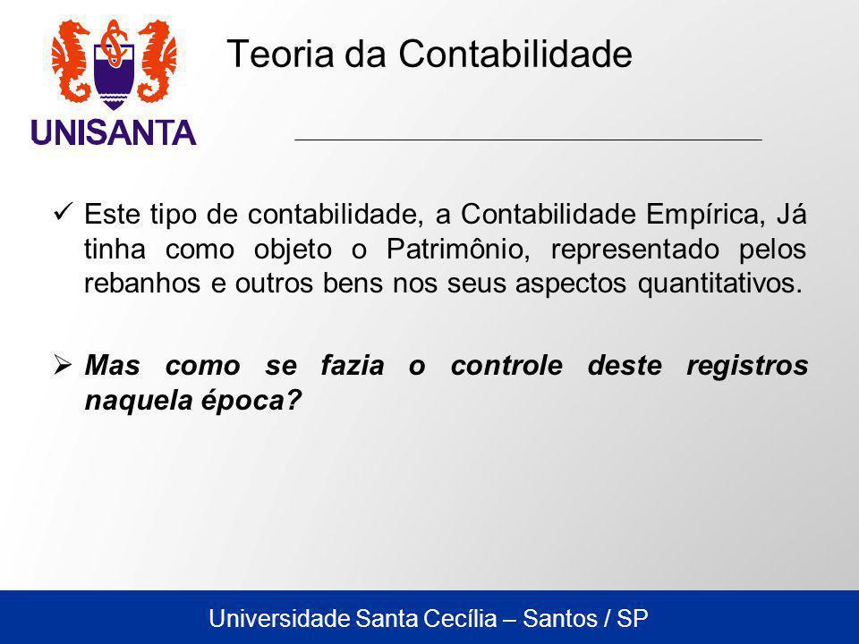 Universidade Santa Cecília – Santos / SP Este tipo de contabilidade, a Contabilidade Empírica, Já tinha como objeto o Patrimônio, representado pelos rebanhos e outros bens nos seus aspectos quantitativos.