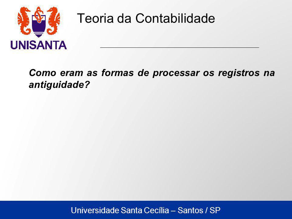 Universidade Santa Cecília – Santos / SP Teoria da Contabilidade Historiadores remontam os primeiros sinais da existência de contas aproximadamente a 4.000 anos a.C.
