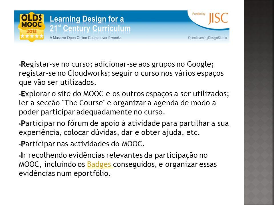 R Registar-se no curso; adicionar-se aos grupos no Google; registar-se no Cloudworks; seguir o curso nos vários espaços que vão ser utilizados.
