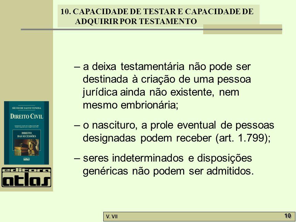 10. CAPACIDADE DE TESTAR E CAPACIDADE DE ADQUIRIR POR TESTAMENTO V. VII 10 – a deixa testamentária não pode ser destinada à criação de uma pessoa jurí