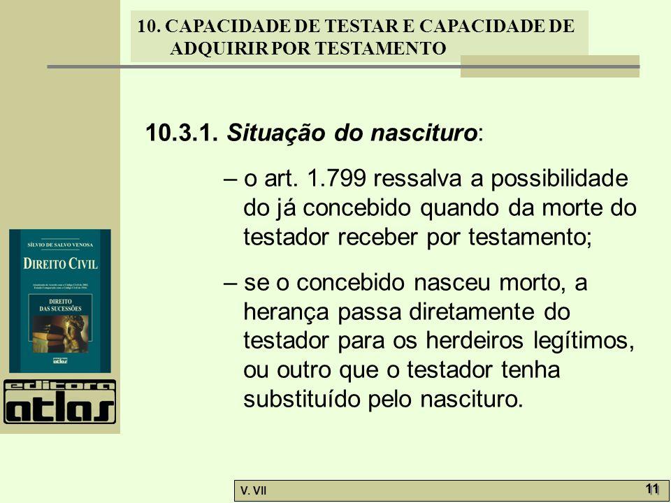 10. CAPACIDADE DE TESTAR E CAPACIDADE DE ADQUIRIR POR TESTAMENTO V. VII 11 10.3.1. Situação do nascituro: – o art. 1.799 ressalva a possibilidade do j