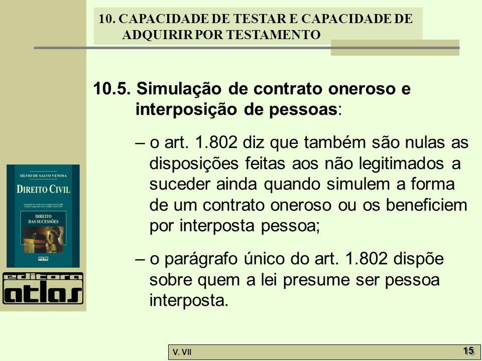 10. CAPACIDADE DE TESTAR E CAPACIDADE DE ADQUIRIR POR TESTAMENTO V. VII 15 10.5. Simulação de contrato oneroso e interposição de pessoas: – o art. 1.8